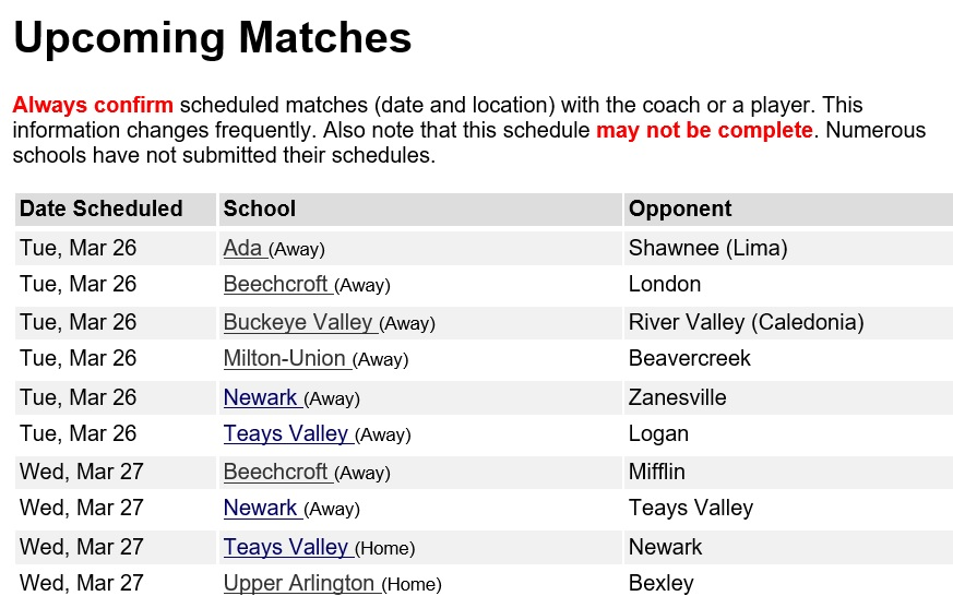 Upcoming Matches